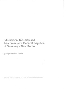 Educational facilities and the community: Federal Republic of Germany - West Berlin
